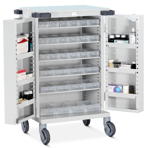 Bristol Maid Double Door Drugs Trolley with Trays - Overall Dimensions: 670 x 530 x 1095mm