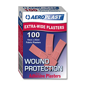 AeroPlast Extra Wide Strip Fabric Plasters 7.5x2.5cm (pk 100)