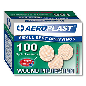 AeroPlast Small Spot Washproof Plasters 22.5mm dia (pk 100)