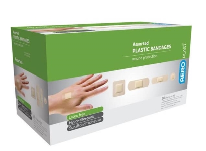 AeroPlast Assorted Washproof Plasters (pk 100) - Skin Coloured